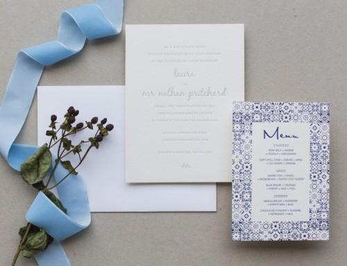 Invitación de boda letterpress Laura & Nathan