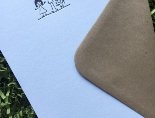 Letterpress Family cards Man/Woman/Happy Kid