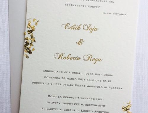 Invitación de boda letterpress Edith & Roberto