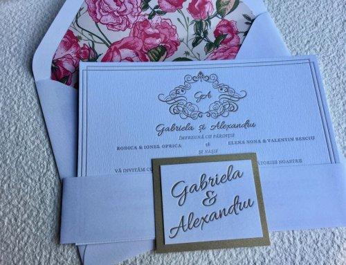 Invitación de boda letterpress Gabriela & Alex