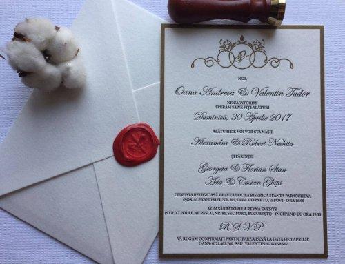 Invitación de boda letterpress Oana & Vali