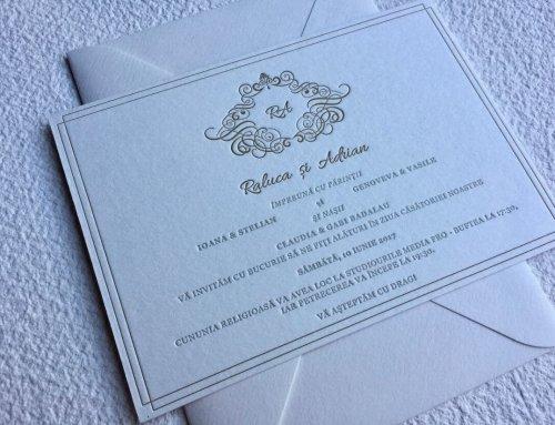 Invitación de boda letterpress Raluca & Adrian