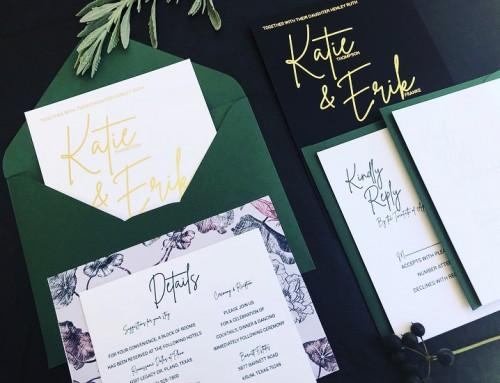 Invitación de boda letterpress Katie & Erik